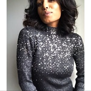 Vintage Sequin Long Sleeve Knit Sweater